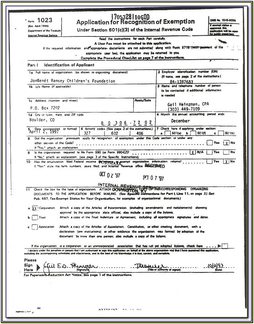 5013c 501c3 Form Sample