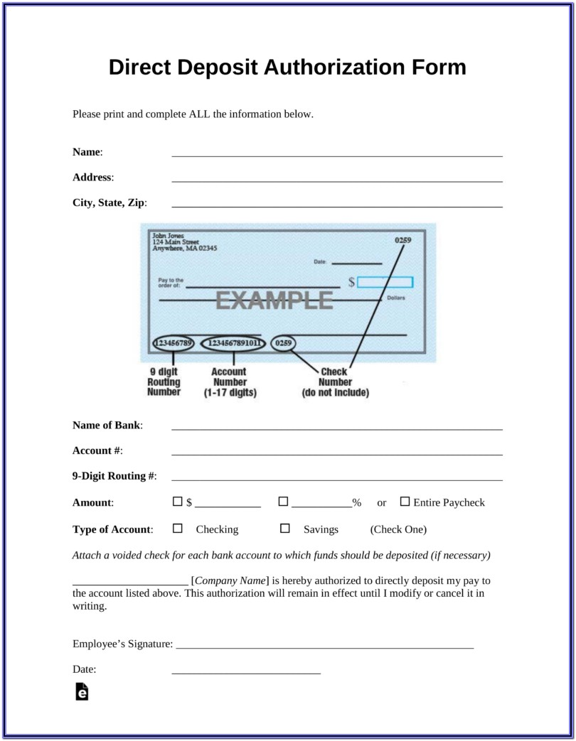 Ach Direct Deposit Authorization Form