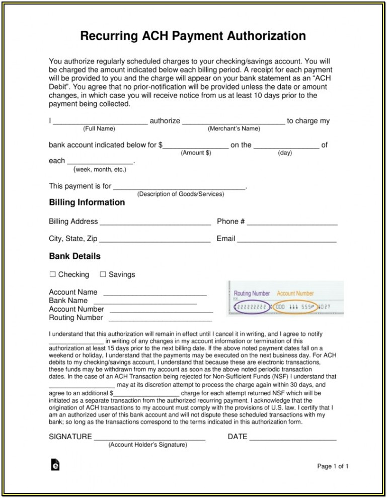 Ach Payment Ach Authorization Form Template