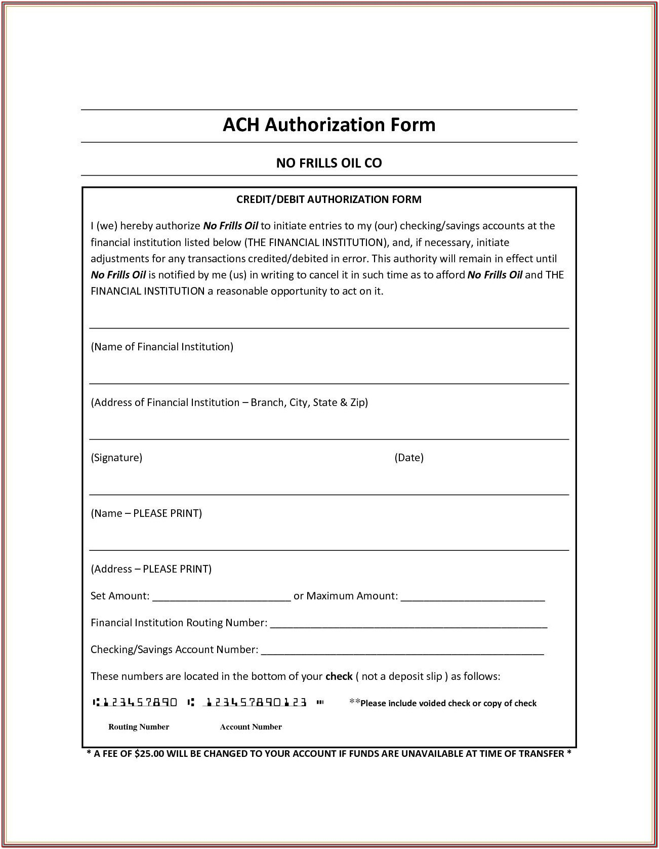 Ach Transfer Form