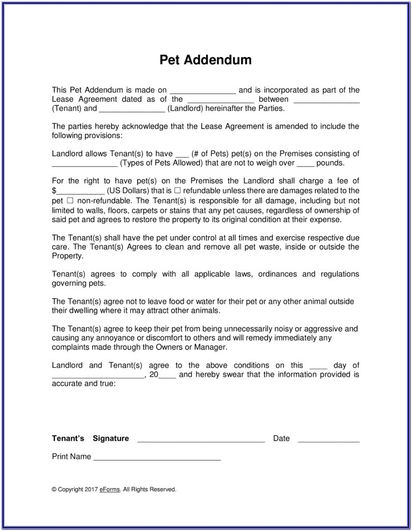 Addendum To Lease Agreement Form