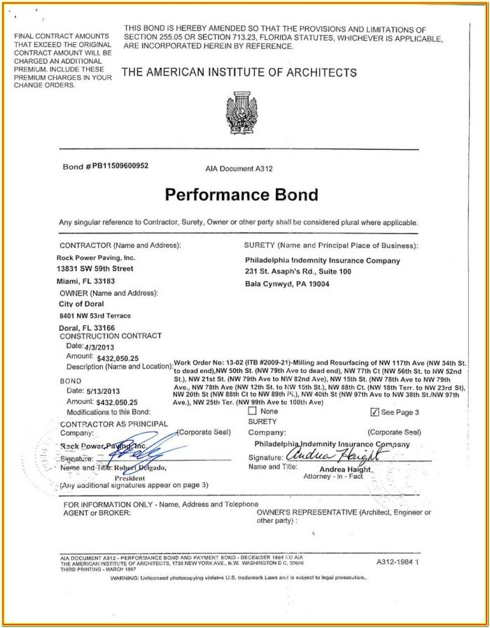 Aia A310 Bid Bond Form