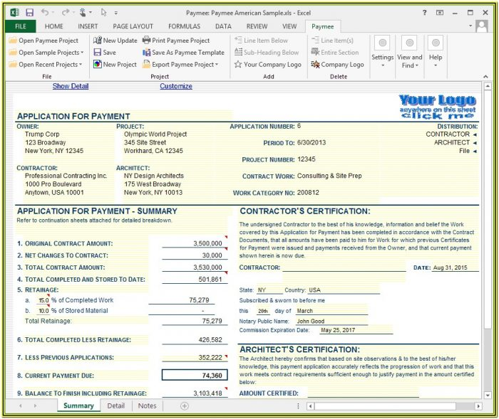 Aia Application For Payment Form