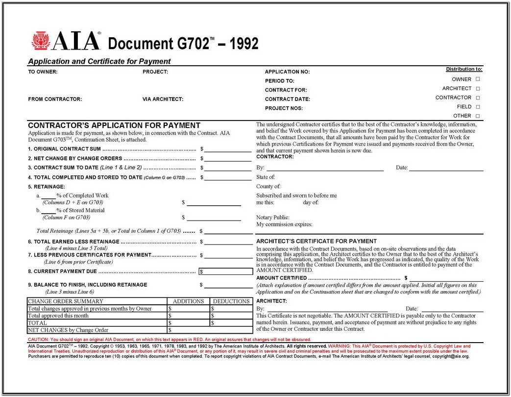 Aia Forms G702 And G703 Free