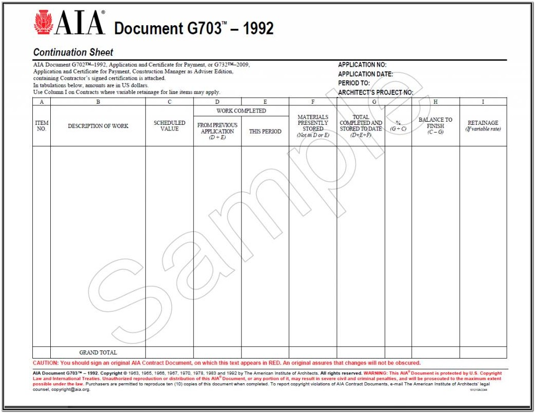 Aia Forms G702