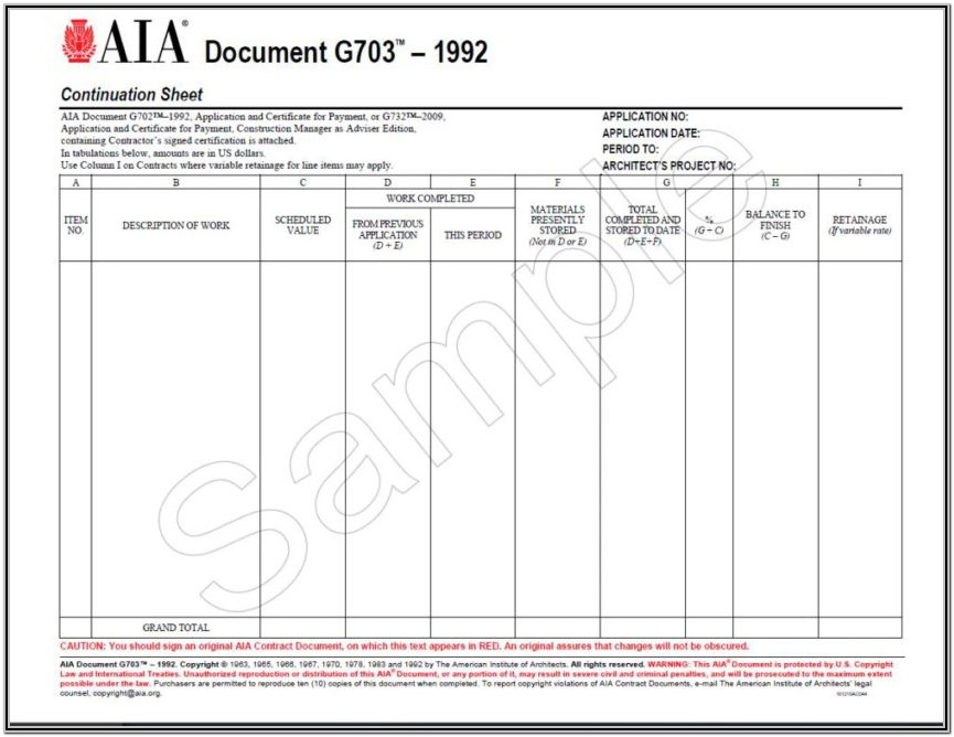 Aia G703 Form