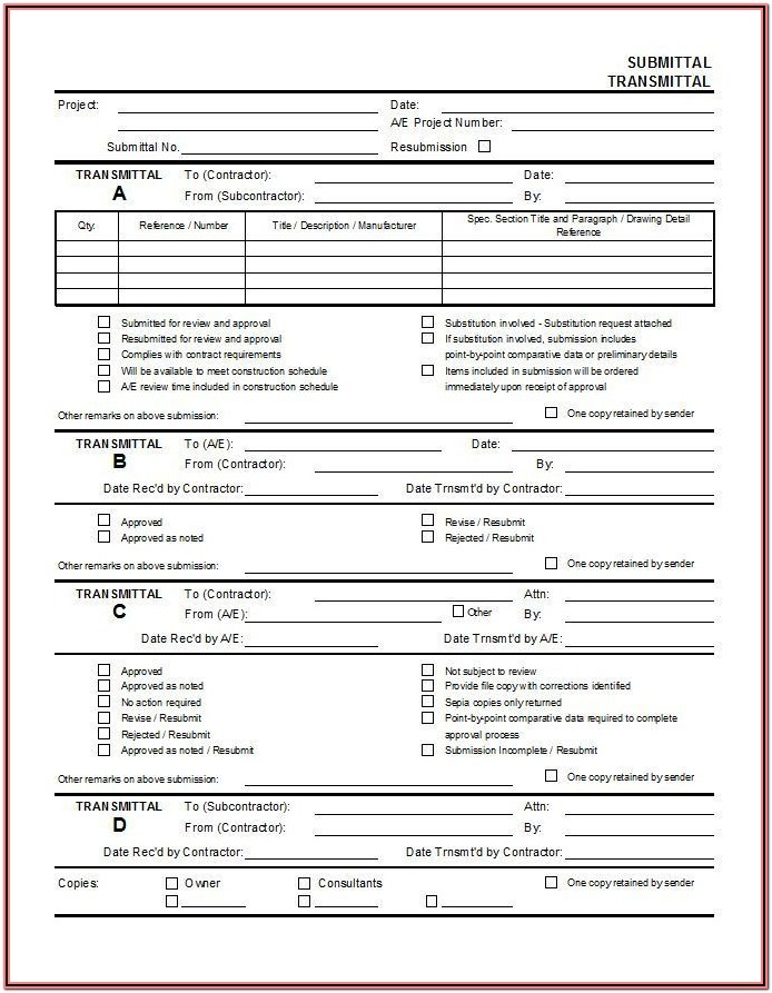 Aia Submittal Form