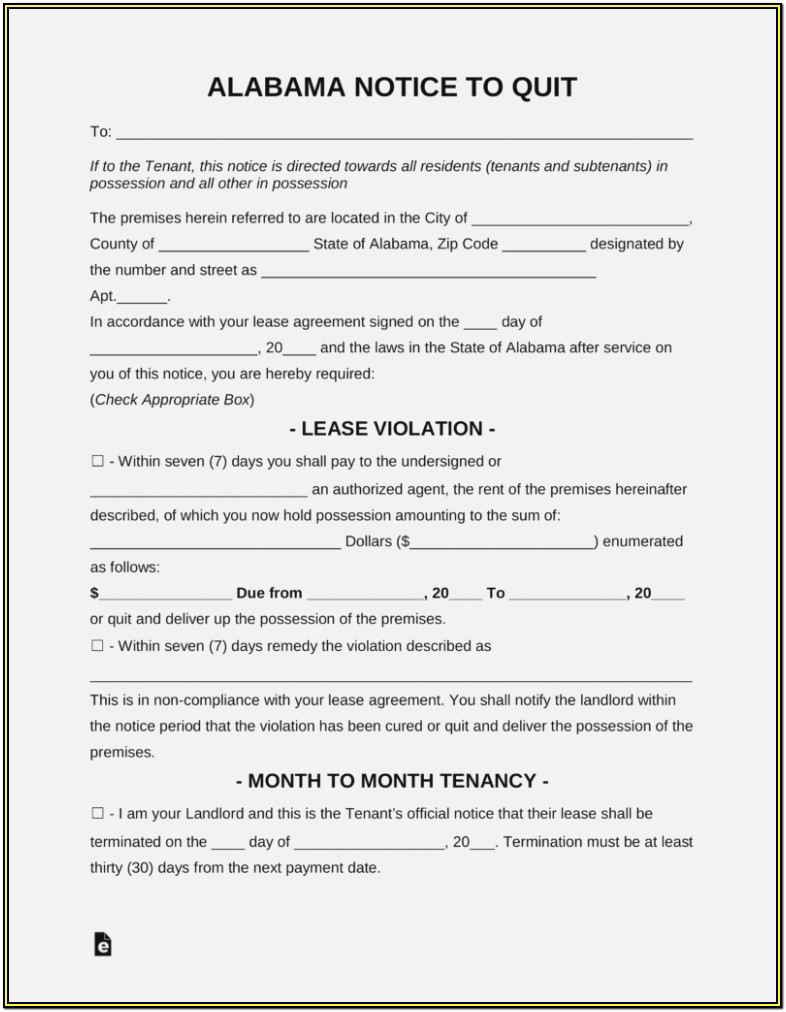 Alabama Eviction Notice Form Free
