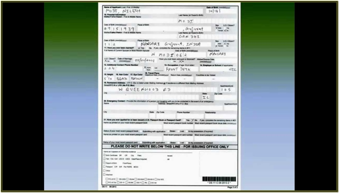 American Passport Renewal Form Ds 11