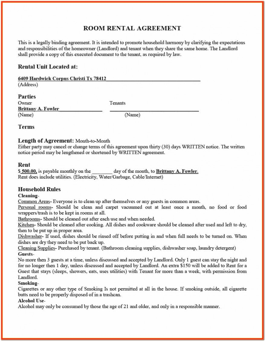 Apartment Lease Form Nj