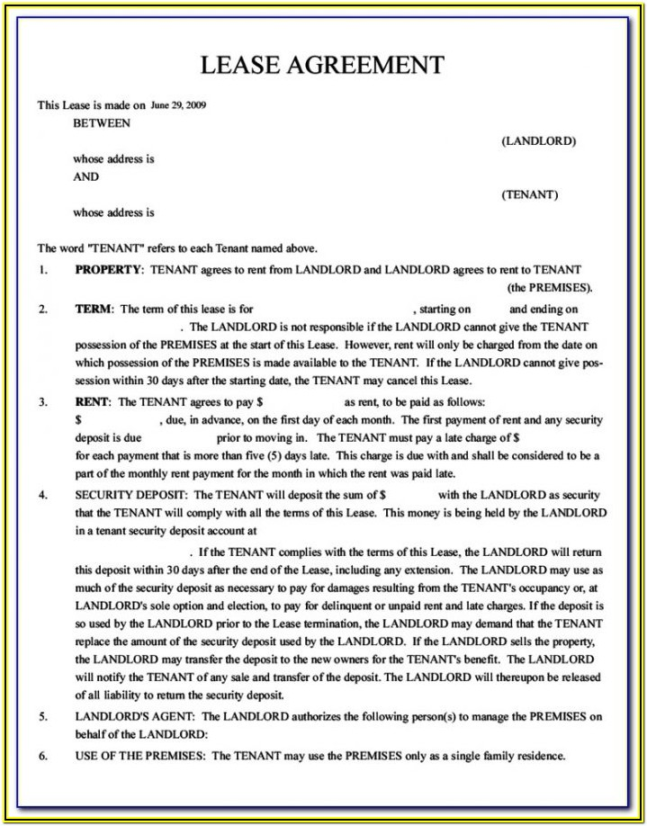 Apartment Rental Lease Agreement Form Ontario