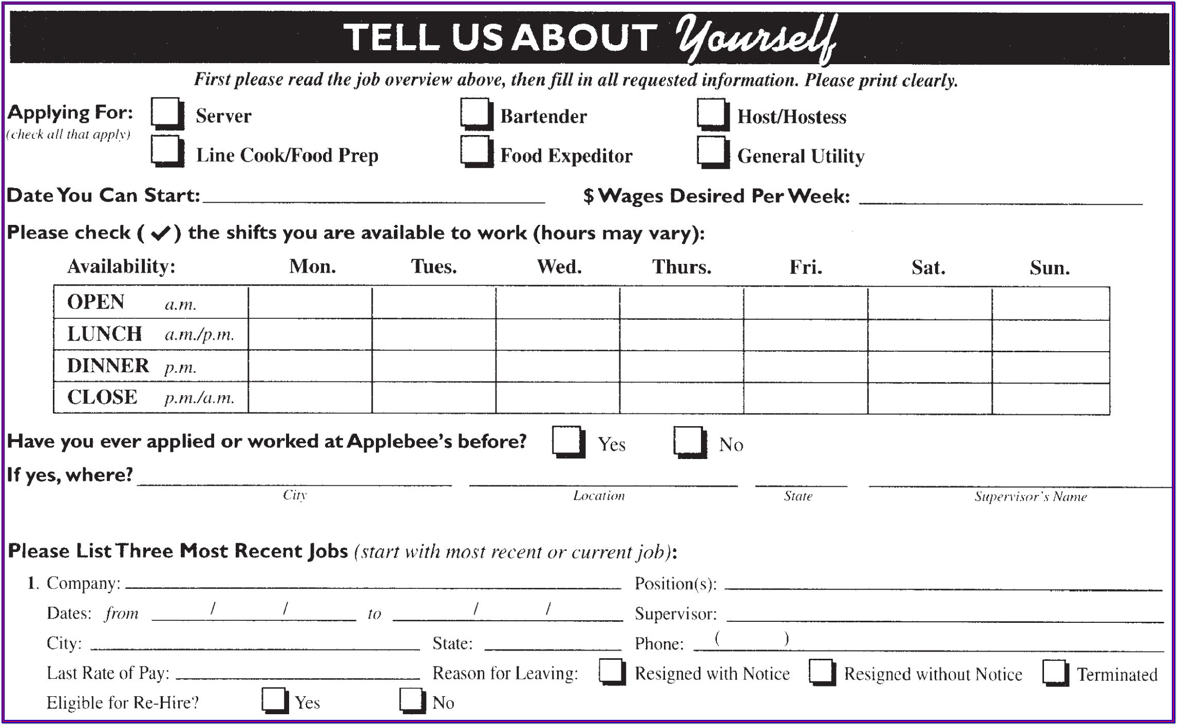 Applebees Online Application Form