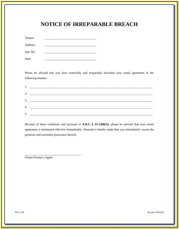 Arizona Eviction Notice Form Free