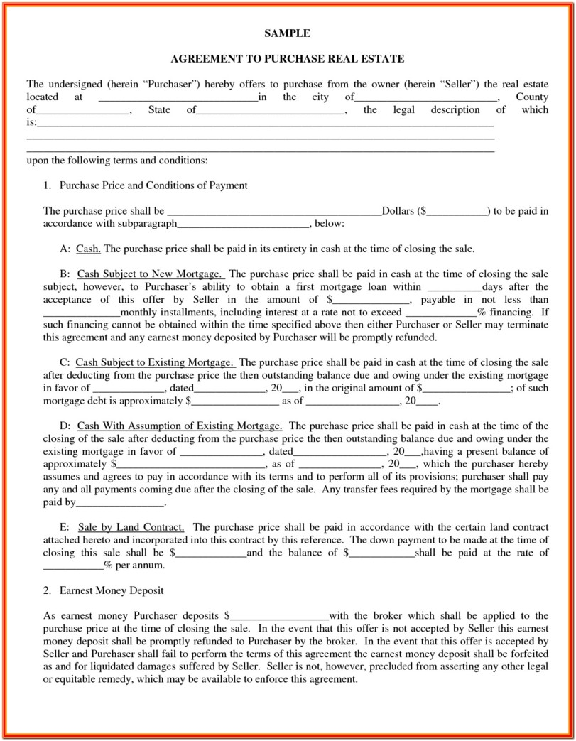 Arkansas Real Estate Contract Form