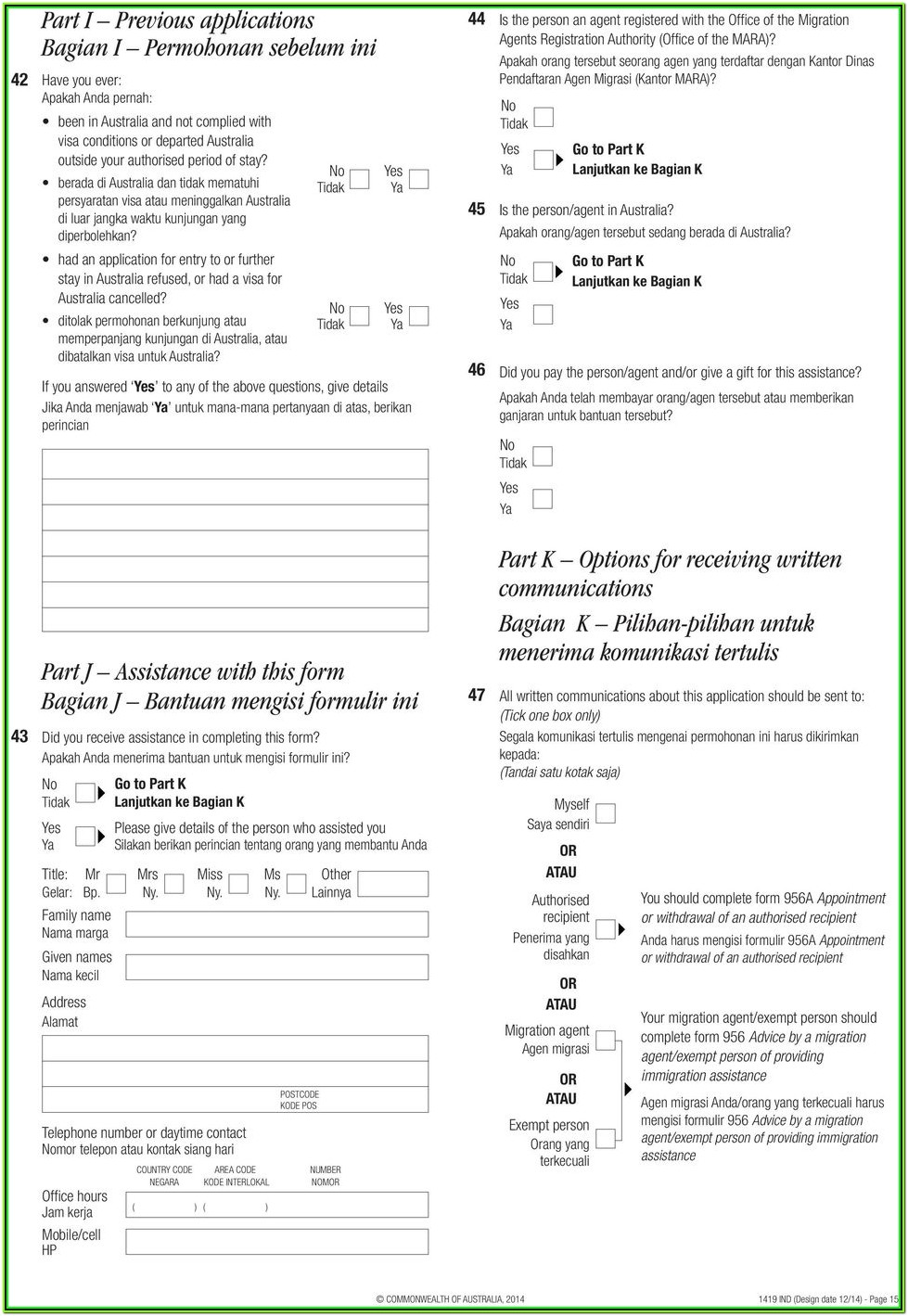 Australia Visitor Visa Form 1419 Download