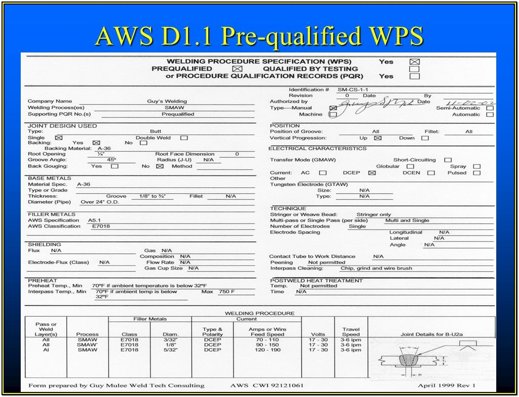 Aws D1.1 Welder Qualification Form