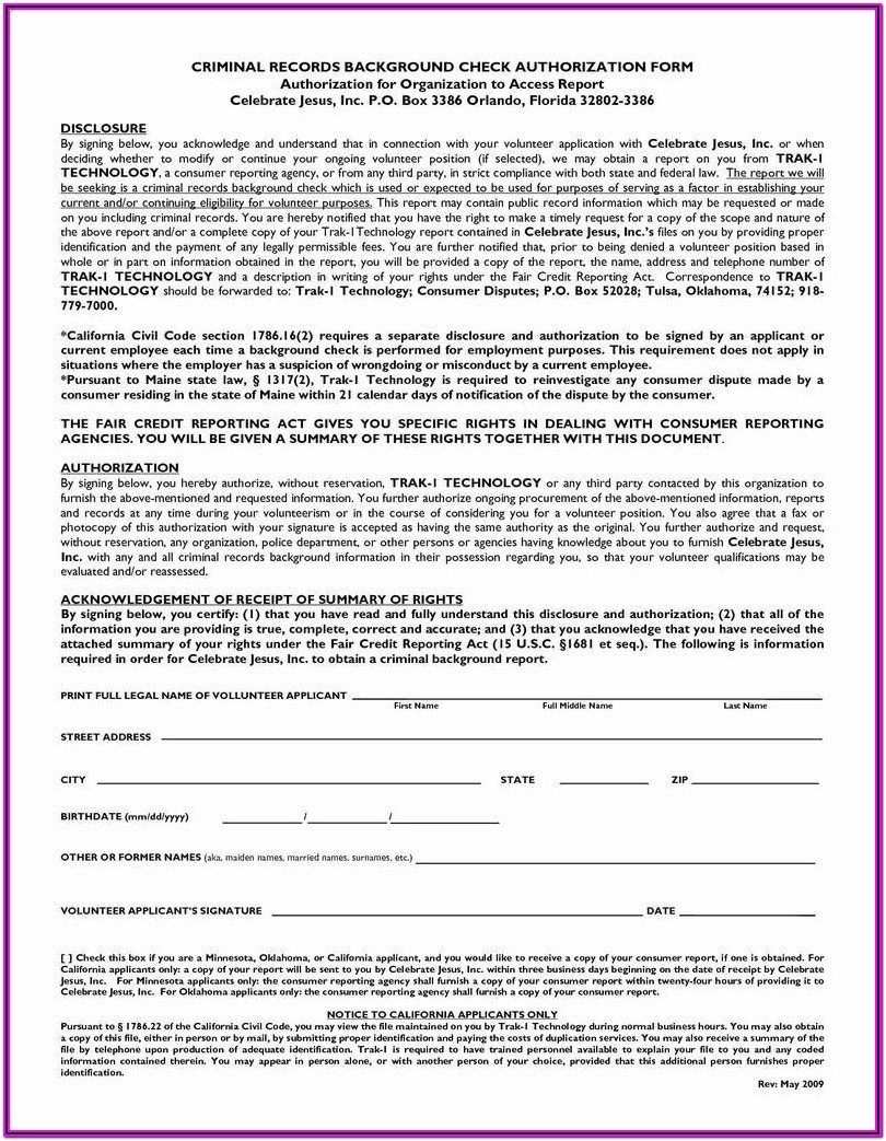 Background Check Form For Renters