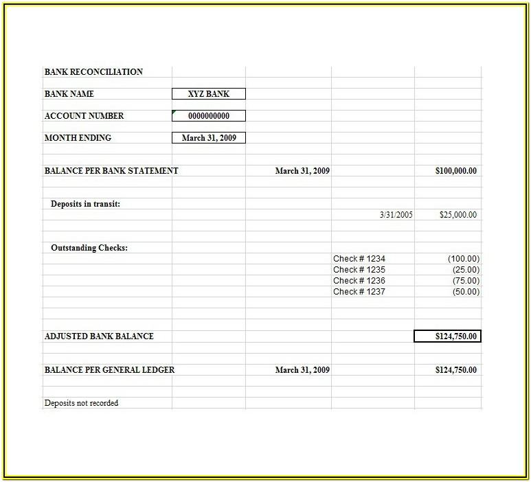 Bank Account Reconciliation Form