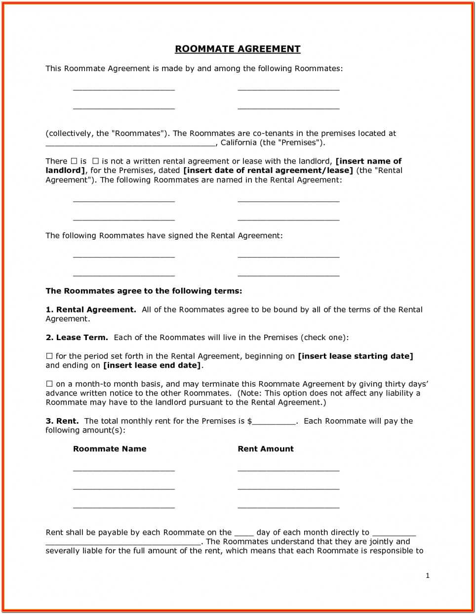 Basic Renters Agreement Form