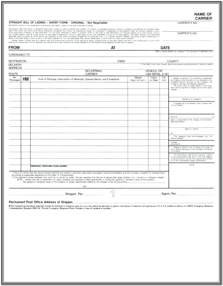 Blank Bill Of Lading Short Form Pdf