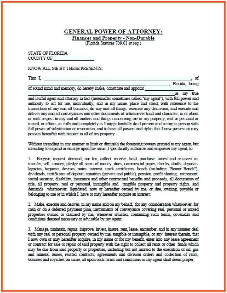 Blank Durable Power Of Attorney Form Florida