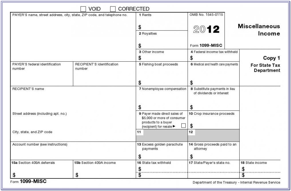 Blank Form 1099 Misc