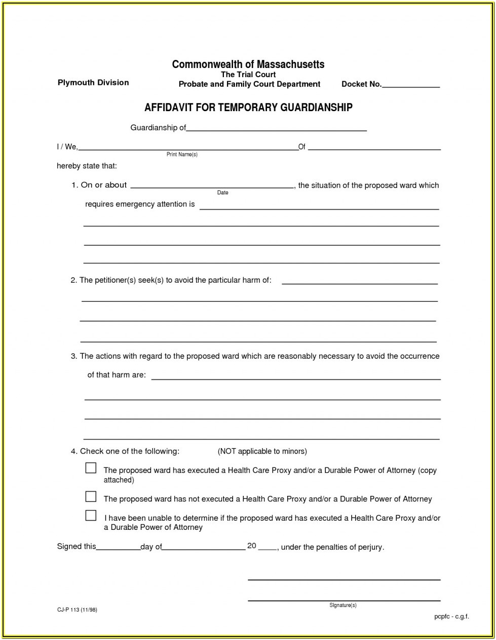 Blank Free Printable Guardianship Forms