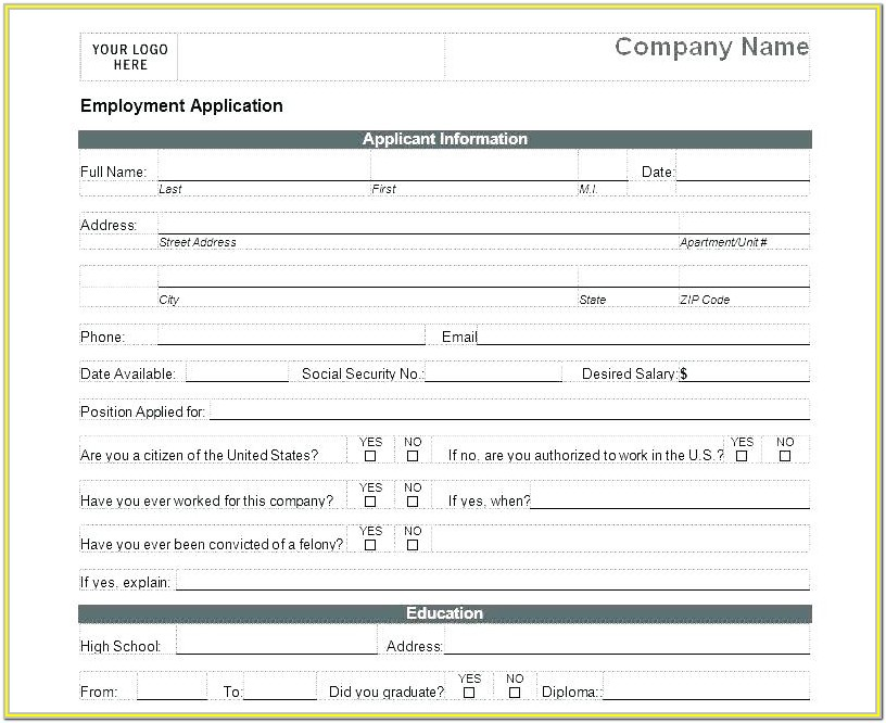 Blank Job Application Forms To Print