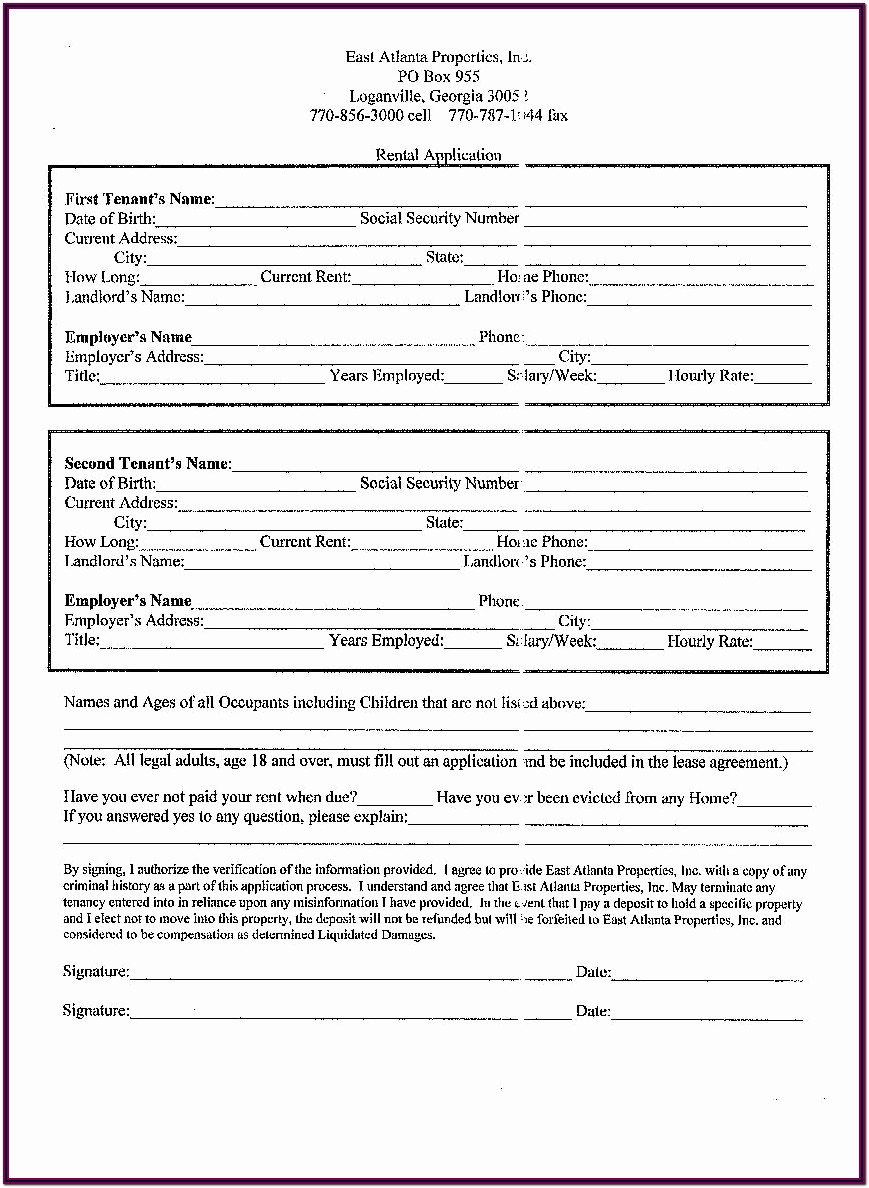 Blank Lease Forms Residential