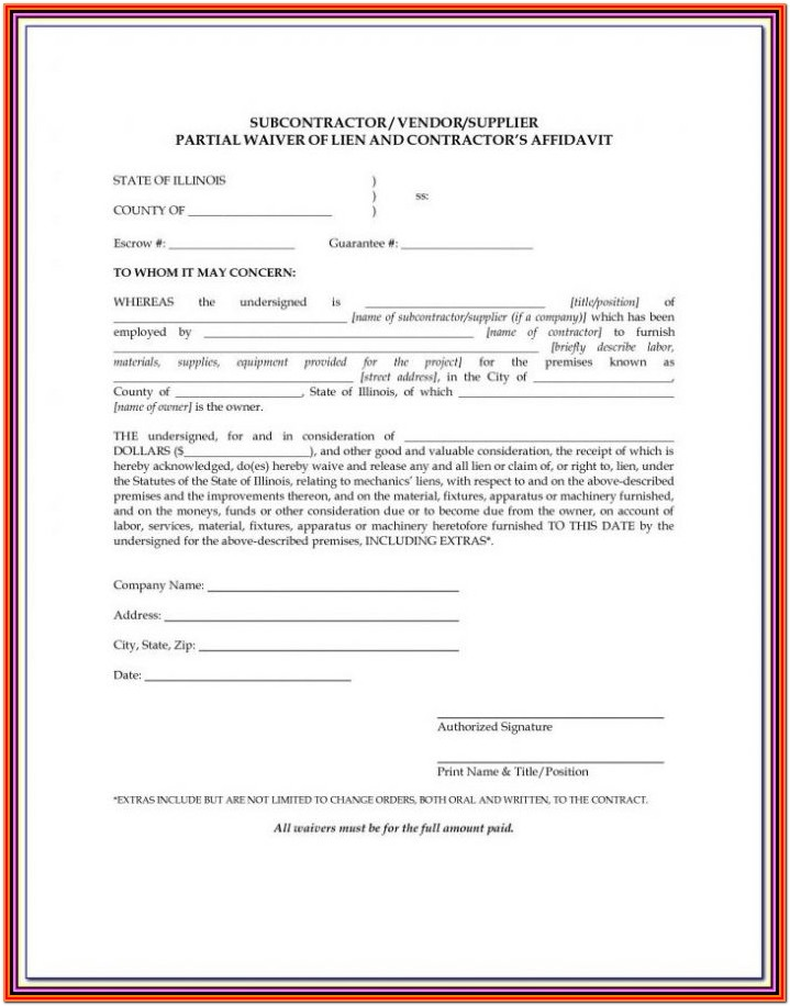 Blank Lien Waiver Form Missouri