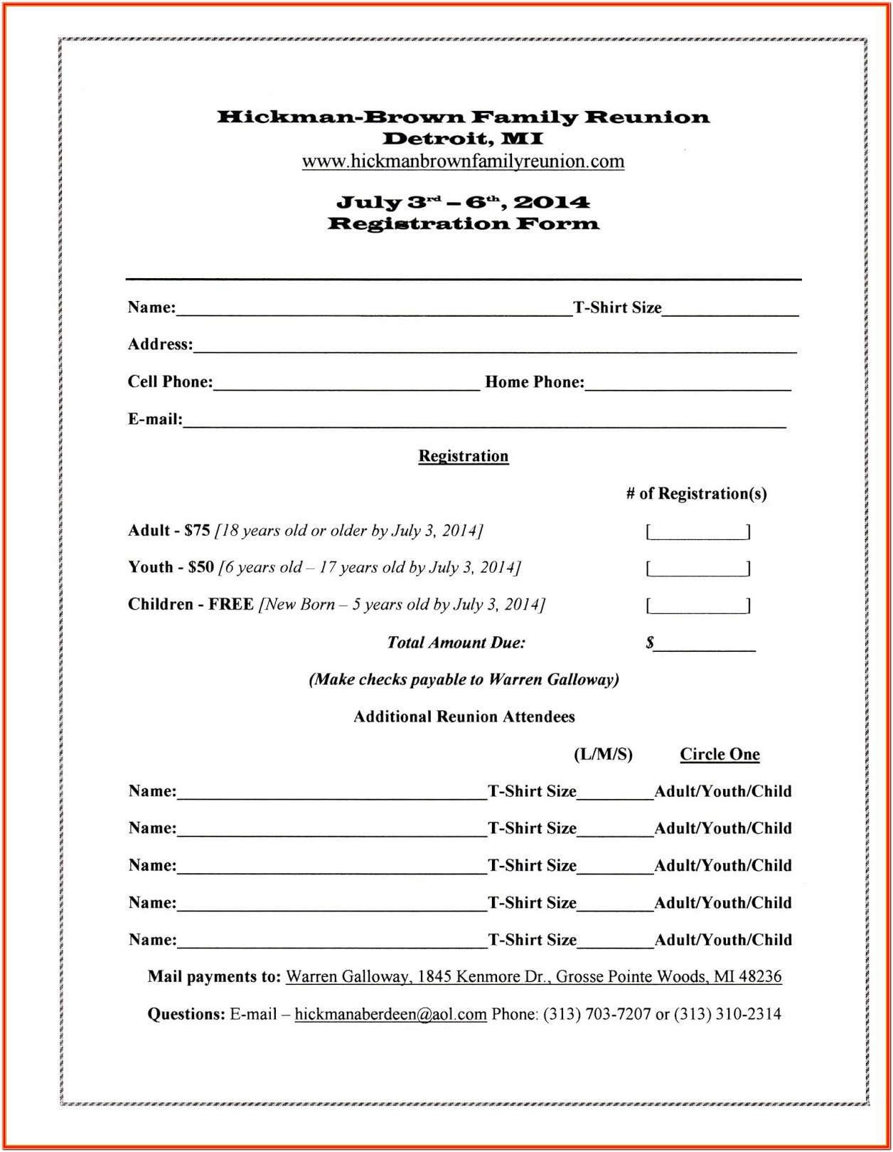 Blank Sports Registration Form Template