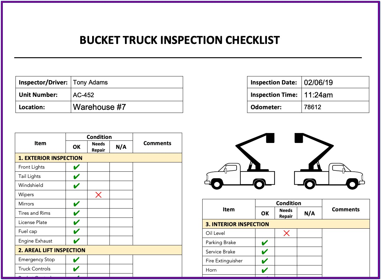 Bucket Truck Pre Trip Inspection Form