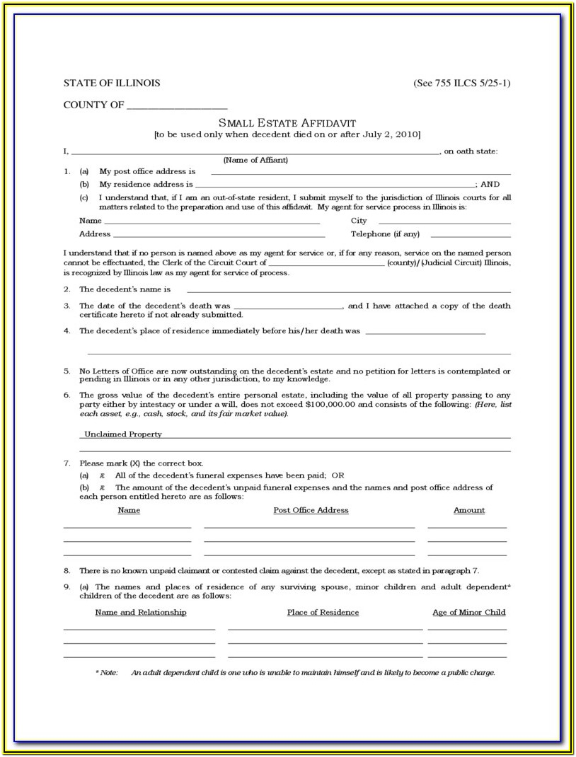 Ca Small Estate Affidavit Form