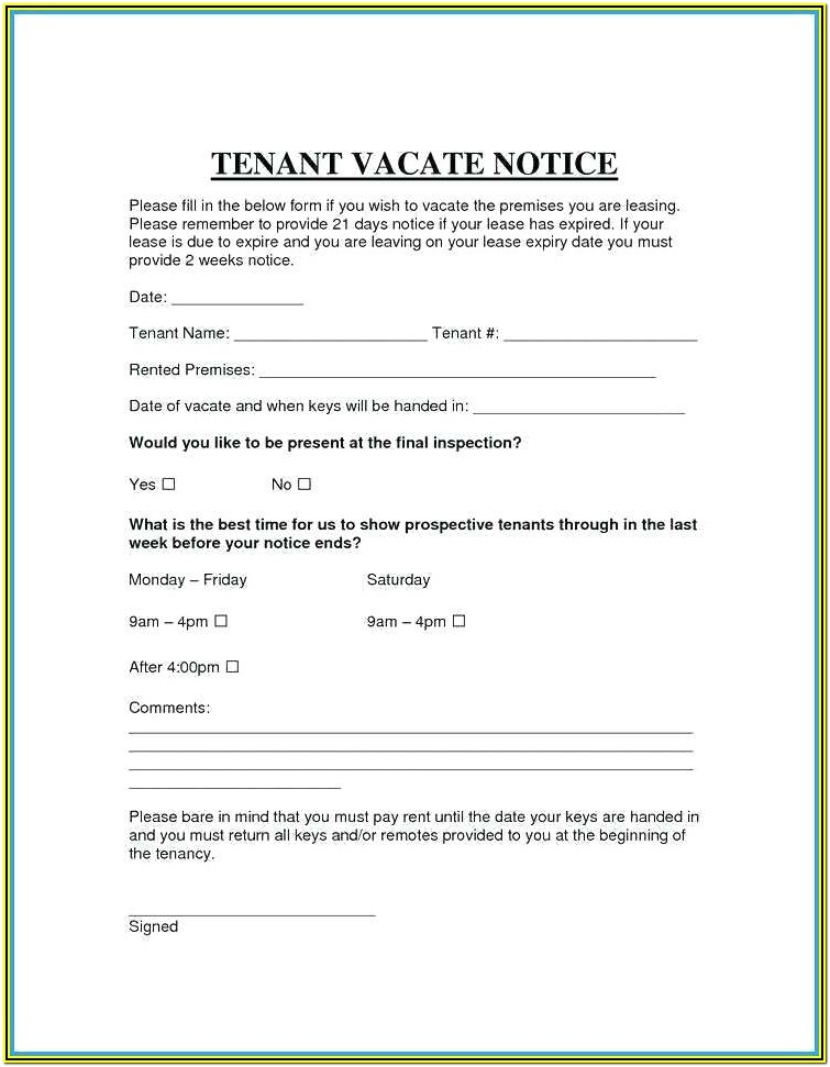 California 60 Day Notice To Vacate Form