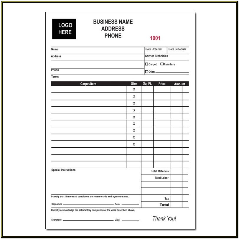 Carpet Cleaning Invoice Forms