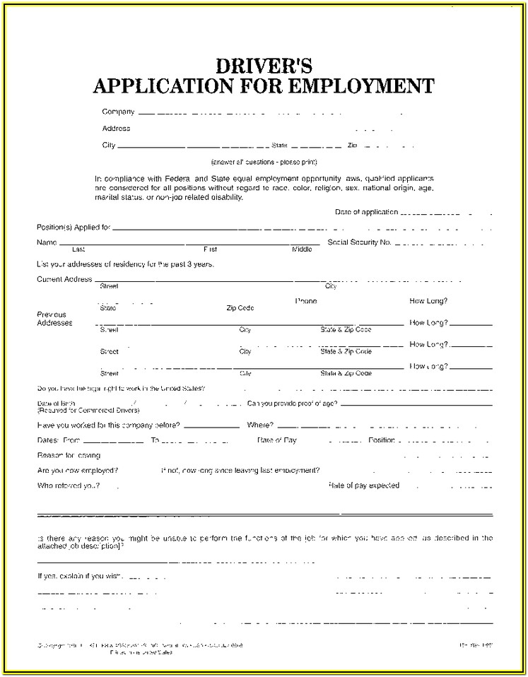 Cdl Driver Application Form