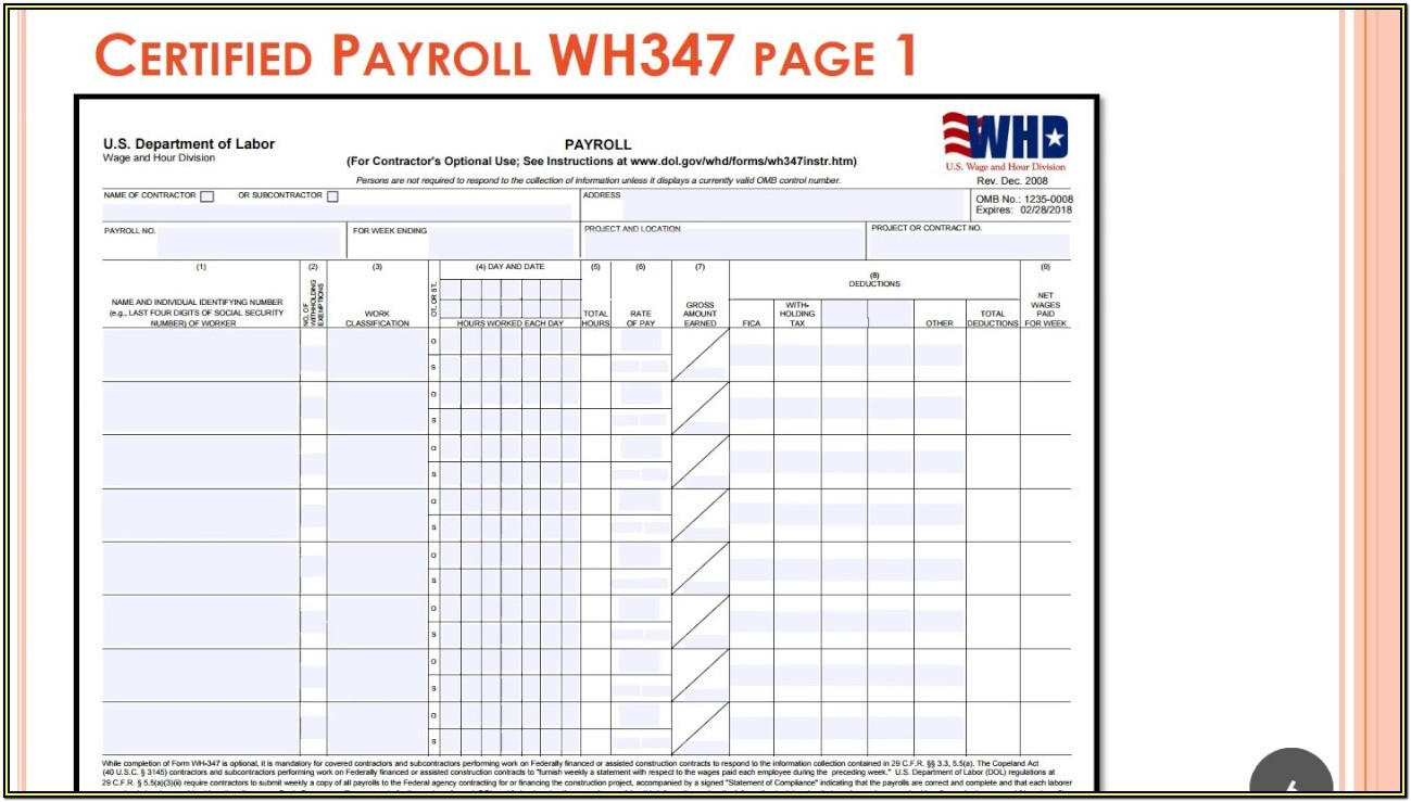 Certified Payroll Form Wh 347 Free
