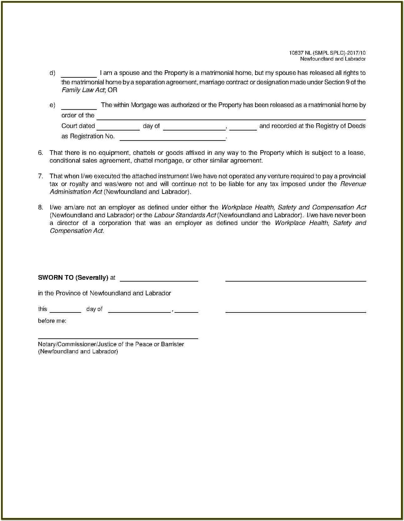 Chattel Mortgage Form Colorado