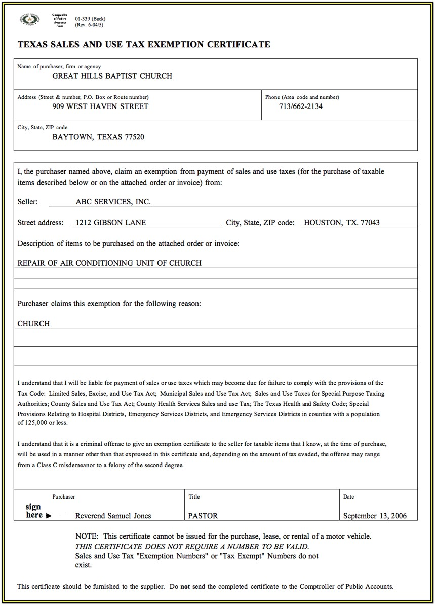 Church Tax Exempt Form Texas