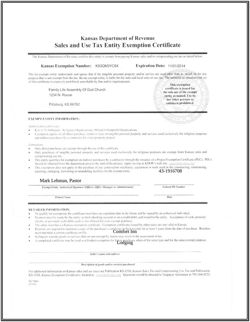 Church Tax Exempt Form