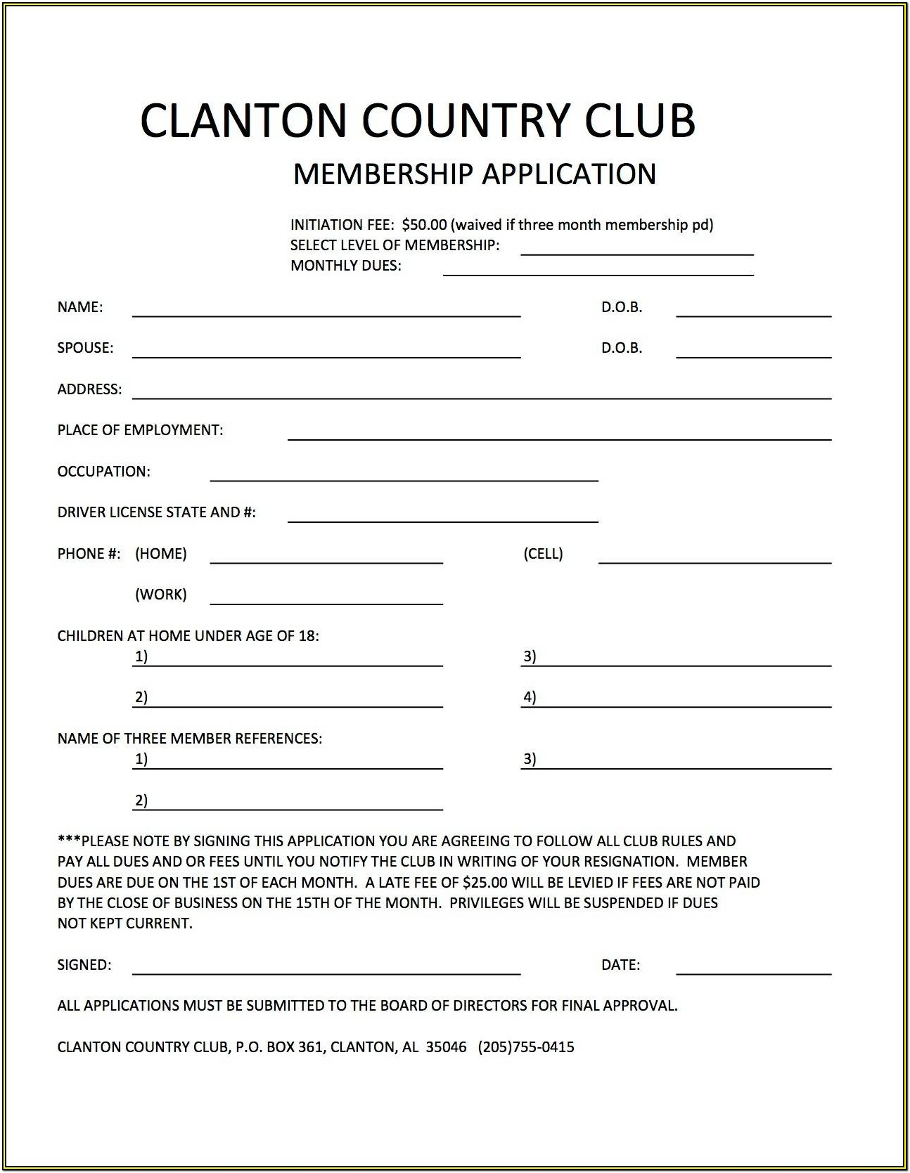 Club Registration Form Club Application Template