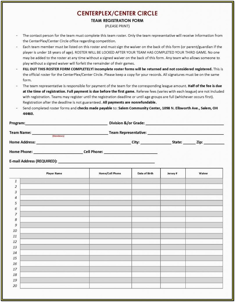Club Registration Form Template