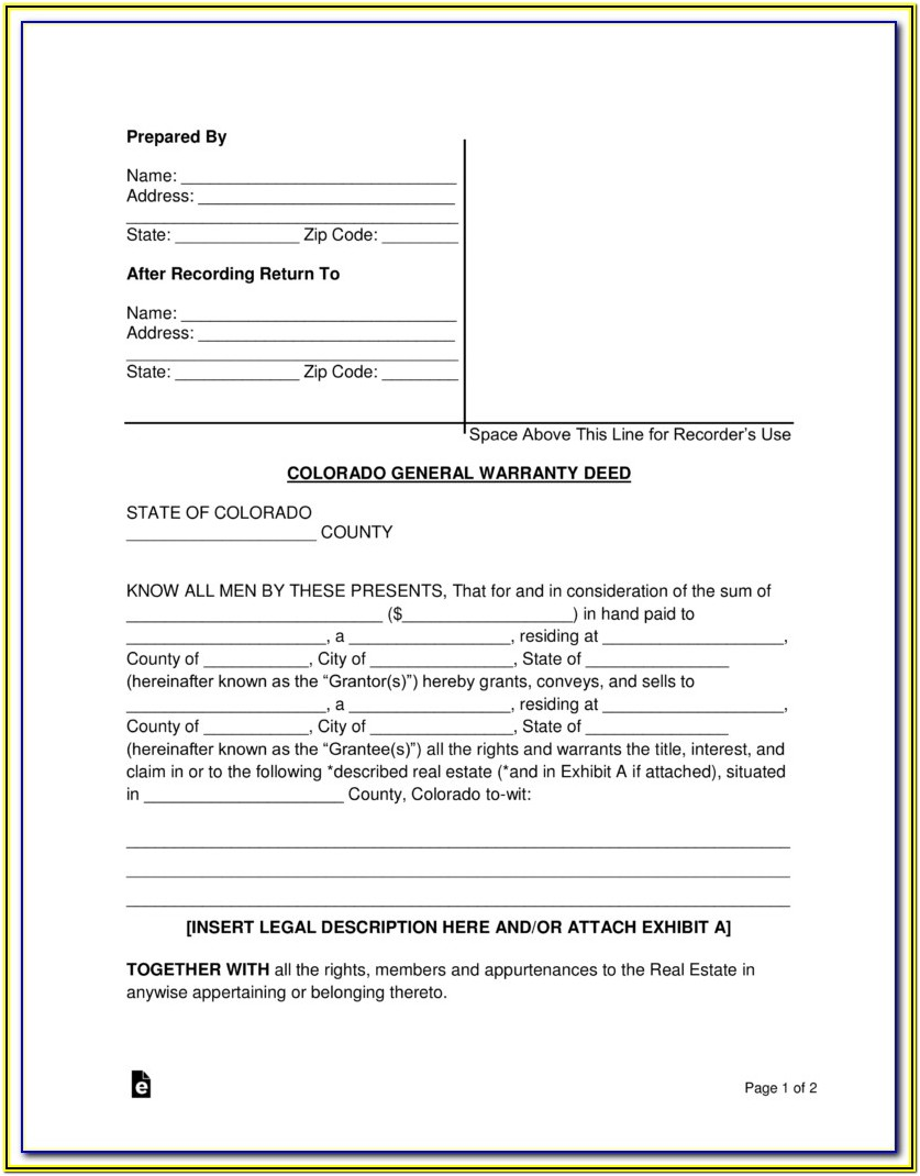 Colorado Warranty Deed Form