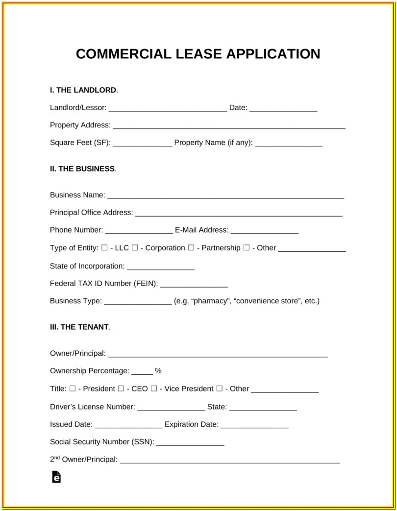 Commercial Rental Application Form Pdf