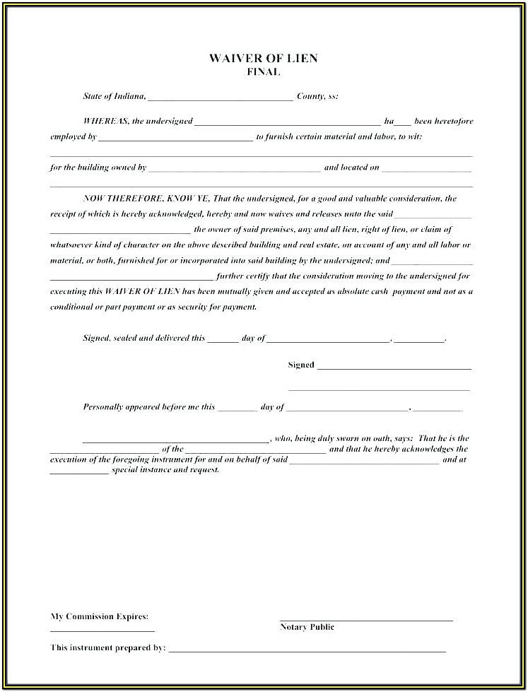 Construction Conditional Lien Release Form