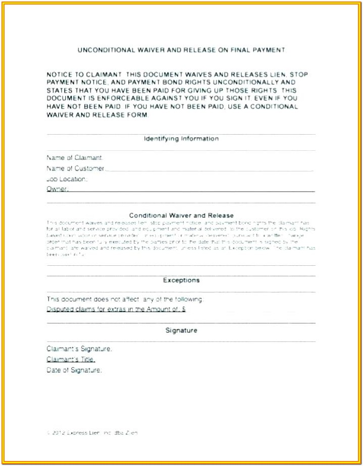 Construction Contractor Lien Waiver Form