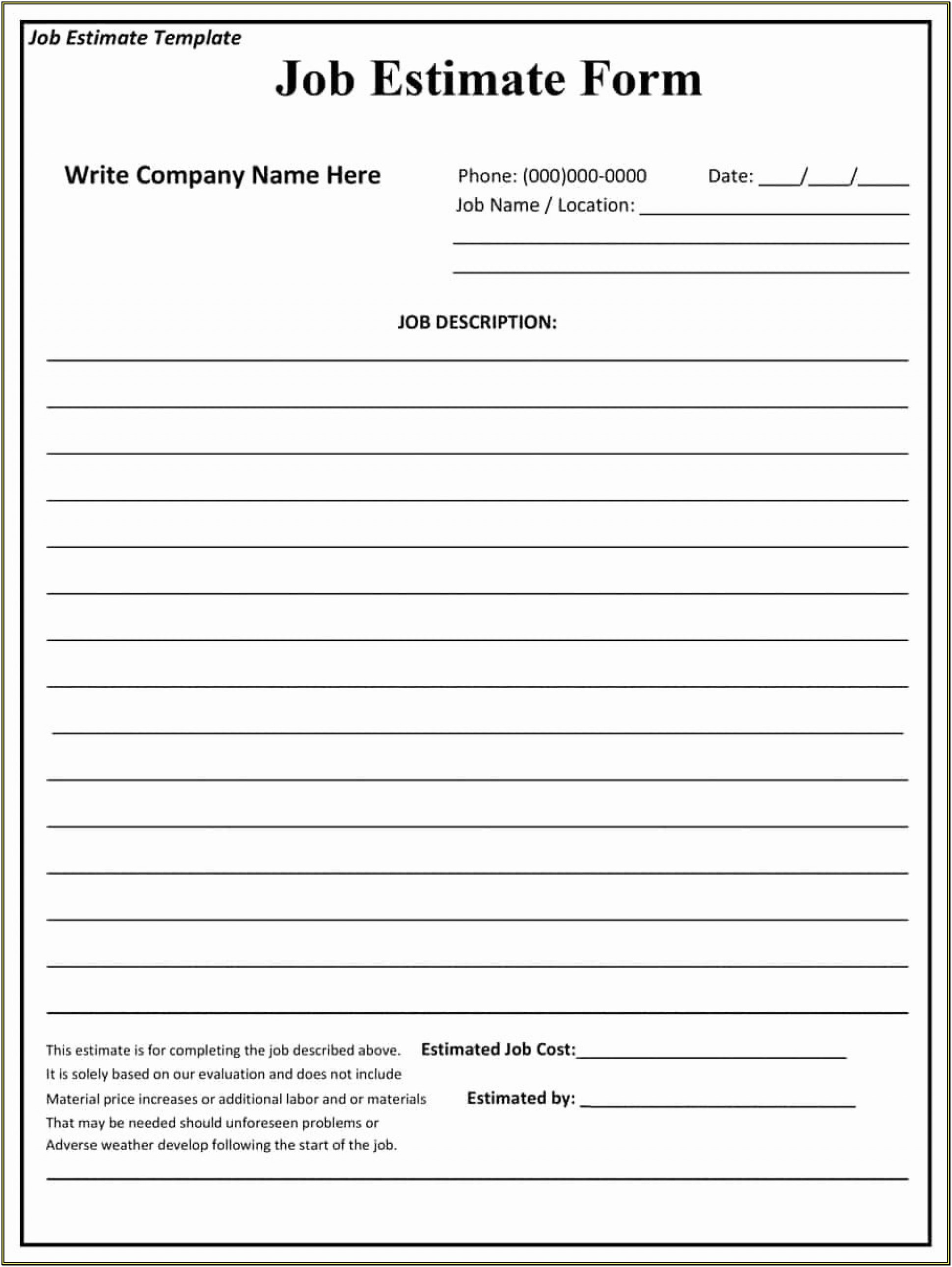 Construction Free Printable Estimate Forms