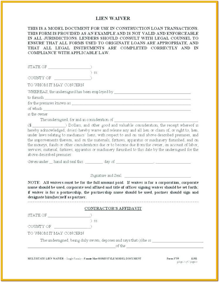 Construction Lien Form Michigan