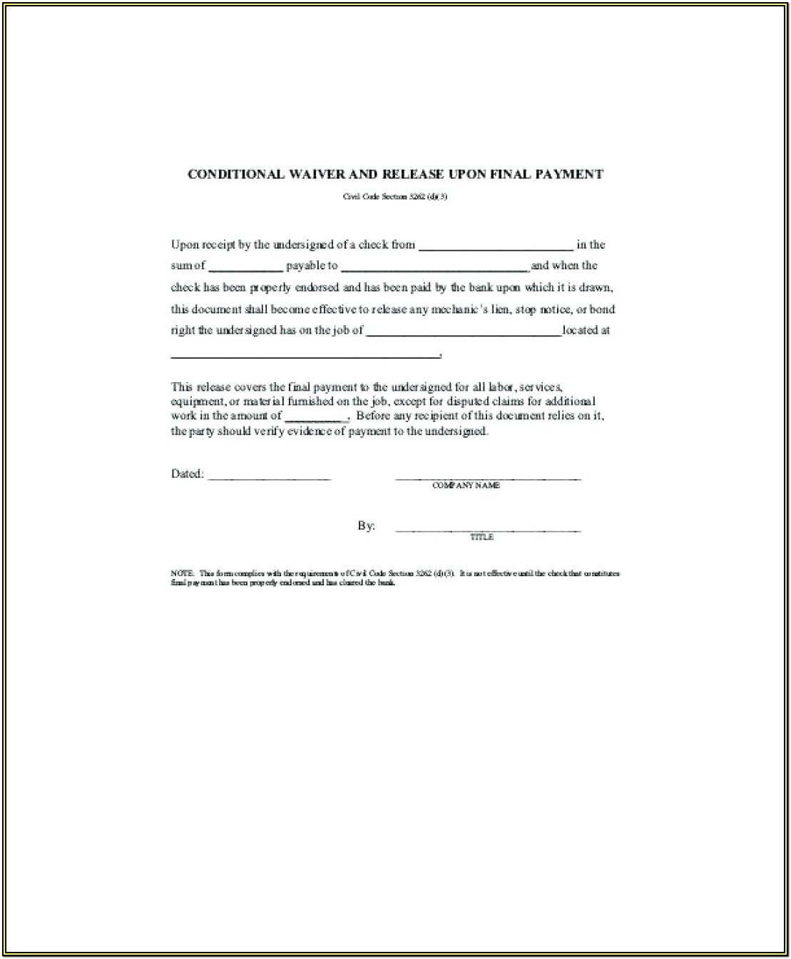 Construction Lien Release Form California