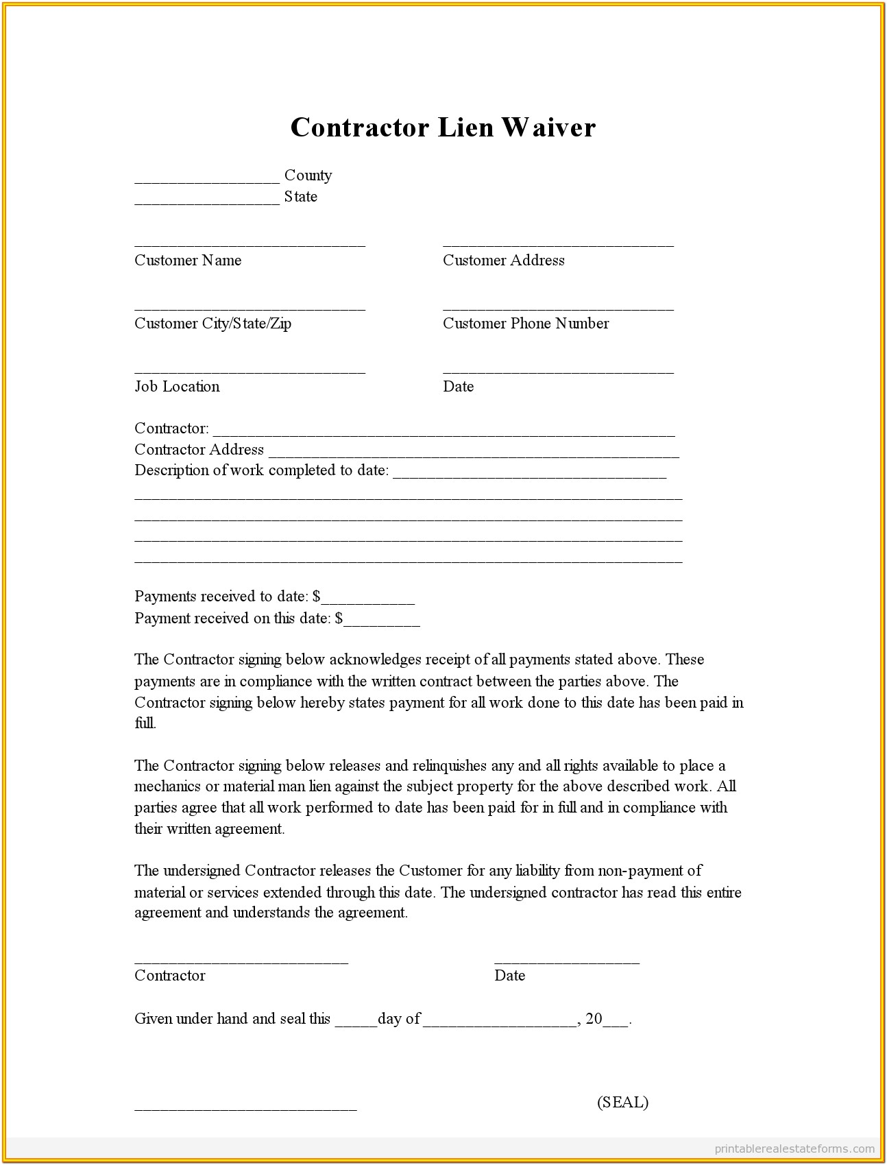Construction Lien Waiver Form